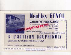 38 -LES ABRETS-BUVARD MEUBLES REVOL- ROUTE GRENOBLE -A L' ARTISAN DAUPHINOIS -IMPRIMERIE BELLEMIN-PONT DE BEAUVOISIN - Buvards, Protège-cahiers Illustrés