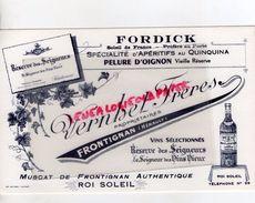 34- FRONTIGNAN- BUVARD FORDICK-VERNHET FRERES PROPRIETAIRES-RESERVE DES SEIGNEURS-QUINQUINA-PELURE D' OIGNON - Alimentaire