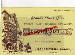 69 - VILLEFRANCHE- RARE BUVARD VINCENT VIAL-GRANDS VINS FINS-BEAUJOLAIS-MACON-BOURGOGNE-COTRES DU RHONE - Alimentaire