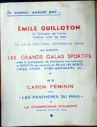 CATCH FEMININ JUDO  LUTTE RARE PROGRAMME  DE PRESENTATION DE FEMMES CATCHEUSES PRESENTEES  PAR E. GUILLOTIN - Unclassified