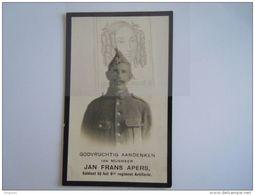 Doodsprentje Jan Frans Apers Oudstrijder 1914-1918  9de Regiment Artillerie °Mechelen 1893 Gesneuveld Meulebeke 1918 - Images Religieuses