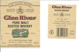 "Etiquette De WHISKY "" GLEN RIVER Pure Malt "" - Whisky"