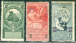 Italy 1912 Unità D'Italia Sovrastampati MH* - Lot. RE99-101 - 1900-44 Victor Emmanuel III
