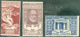 Italy 1922 Giuseppe Mazzini MH* - Lot. RE128-130 - 1900-44 Victor Emmanuel III