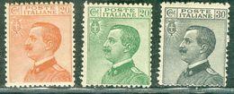Italy 1925 V.E. Volto A Sinistra MNH** - Lot. RE183-185 - 1900-44 Victor Emmanuel III