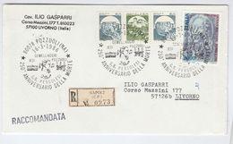 1986 REGISTERED Naples COVER EVENT Music PERGOLESI DEATH ANNIV  Stamps To Livorno Italy - Music