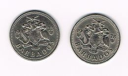 )  BARBADOS 2 X 25 CENTS  1973/78 - Barbades