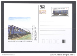 CZECH REPUBLIC , 2014, MNH,PREPAID POSTCARD, HOLOGRAM, TRAINS - Trains