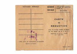 Carte De Réduction De La S.N.C.F Pour Un Voyage LIGNES S.N.C.F. Sécurité Sociale De DIJON 1952 - MONTIGNY LA RESLE YONNE - Chemins De Fer