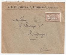 Zeller Freres & Cie, Etueffont-Bas Company Letter Cover Travelled 1922 To Switzerland B171005 - Frankrijk