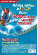 Bulletin De Participation Jeu Soutien Paris 2012 Aux JO Ski Sport - Olympics