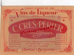 34- FRONTIGNAN- BUVARD C. CERES PERIER-VINS DE LIQUEUR-MUSCAT BANYULS-PORTO-MADERE-MALAGA-JEREZ-SAMOS - Food