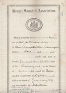 India 1940  Bengal Sanskrit Association  Sanskrit Examination Certificate #  00948  FL Inde Indien India Fiscaux Revenue - Diploma & School Reports