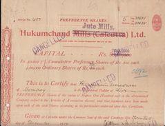 India 1919  Hukum Chand Jute Mills  Share Certificate  #  00944  FL Inde Indien India Fiscaux Revenue - Textile