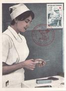 Carte Maximum Du 10 Décembre 1966 à Saint-Etienne La Croix Rouge Et La Poste Infirmière - Maximum Cards