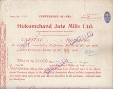 India 1940  Hukum Chand Jute Mills  Share Certificate  #  00943  FL Inde Indien India Fiscaux Revenue - Textile