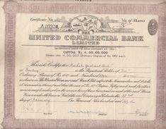 India 1953  United Commercial Bank  Share Certificate  #  00942  FL Inde Indien India Fiscaux Revenue - Bank & Insurance