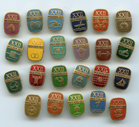 Original Russian Badges & Pin Moscow Olympics 1980 Lot Of 23 Olympic Sports - Giochi Olimpici