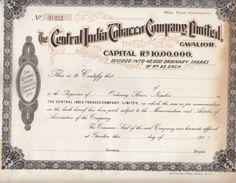 India 1930's  The Central India Tobacco Compant Ltd.  Share Certificate  #  00945  FL Inde Indien India Fiscaux Revenue - Documents