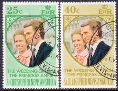 ST KITTS_NEVIS 1973 SG #290-91 Compl.set Used Royal Wedding - St.Christopher-Nevis-Anguilla (...-1980)