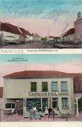 CPA -RAUWILLER(67)-Gruss Aus -Carte Multi-vues De 1917- Epicerie P.Moss Et Fabrique De Broderie-Plaque émaillée Singer - Autres Communes