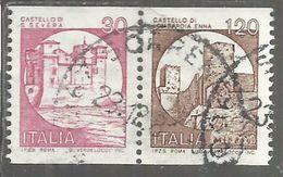 ITALIA REPUBBLICA ITALY REPUBLIC 1980 1991 CASTELLI D'ITALIA BOBINA MACCHINETTE LIRE 30+120 COPPIA USATA USED OBLITERE' - 6. 1946-.. Repubblica