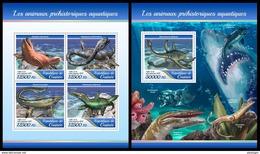 GUINEA 2017 - Prehistoric Water Animals. M/S + S/S. Official Issue - Préhistoriques