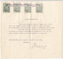 DÄNEMARK 1938 - 5 + 10 + 20 + 25 Öre Stempelmarken Auf Dokument - Briefe U. Dokumente