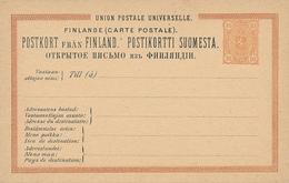 FINLANDE - 1881 , Post Card - Postal Stationery
