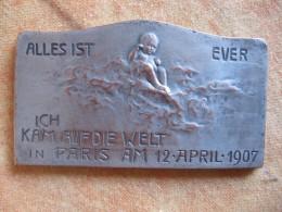 Médaille Geburt Und Taufe Des FRANZ KARL HERZ , Geboren In Paris Und Getauft KALSRUHE 1907 - Unclassified