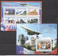 E587 2009 DE GUINEE AVIATION 40E ANNIVERSAIRE DU CONCORDE 1KB+1BL MNH - Concorde