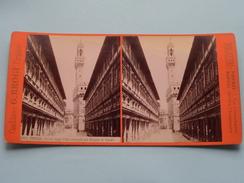 FIRENZE Portici Degli Uffizi Costruiti Sul .... (3060) Stereo Photo G. BROGI Firenze Napoli ( Voir Photo Pour Detail ) ! - Photos Stéréoscopiques