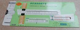 Règle à Calcul  De 1956  - OMARO -  RESSORTS à BOUDIN - Compression Et Traction - Fils Rond Et Carré - Sciences & Technique