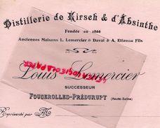 70- FOUGEROLLES PREDURUPT- RARE BUVARD DISTILLERIE DE KIRSCH ET ABSINTHE -LOUIS LEMERCIER - DAVAL ET A. ETIENNE FILS - Carte Assorbenti