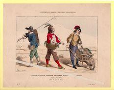 Les Costumes De Paris à Travers Les Siècles. Cureur De Puits, Vendeur D'huitres, Marchand De Vinaigre. - Vecchi Documenti