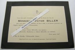 Victor Biller Décès 1923 Messe à Villemomble 50 Rue De Bondy Lié Famille Masingue Mortagne Du Nord - Otros Municipios