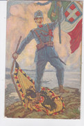 CARD OCCUPAZIONE TRIESTE SOLDATO ITALIANO CON TRICOLORE ITALIANO CALPESTA BANDIERA AUSTRO-UNGARICA FP-N-2-0882-27701 - Patriottiche