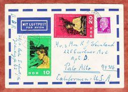Luftpost, MiF Albert Schweitzer U.a., Erfurt Nach Palo Alto USA 1965 (42223) - Covers & Documents