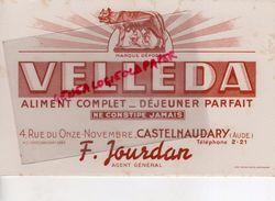 11- CASTELNAUDARY- BUVARD VELLEDA- F. JOURDAN-4 RUE DU 11 NOVEMBRE-ALIMENT ATION- LOUVE ROMULUS ET REMUS-ROME - Blotters