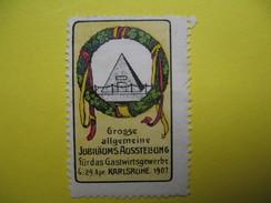 Vignette Grosse Allgemeine Jubilaums Ausstellung Fur Das Gastwirtsgewerbe  6 - 29 Karlsruhe 1907 - Erinnophilie