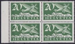 Suisse  .    Yvert    PA  4    Bloc De 4  .    **       .   Neuf   SANS  Charniere  .  /   .    MNH - Poste Aérienne