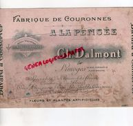 87- LIMOGES- RARE BUVARD A LA PENSEE- CH. DALMONT-FLEURISTE-FABRIQUE COURONNES FLEURS- - F