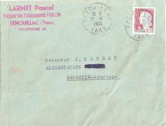4137 SENOUILLAC Tarn Lettre Decaris 25c Yv 1263 Ob 18 11 1960 Recette Distribution Lautier B7 - Postmark Collection (Covers)