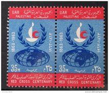 E24 - Egypt Occupation Of Gaza Palestine, 1963 SG 129 35M MNH Stamp - Centenary Of Red Cross - Pair - Palestine