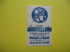 Vignette 1885 Jubilaums  1910  Ausstellung Neustadt A.d. Haardt Saalbau Vom 25 Juni Bis 4 Juli 1910 - Erinnophilie