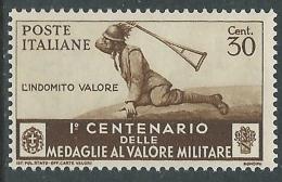 1934 REGNO MEDAGLIE 30 CENT MNH ** - Z28-5 - Nuovi