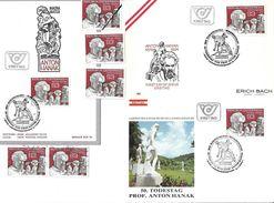 1505e: Österreich 1984, Anton Hanak, Bildhauer: 3 FDCs Und Gesamt 4mal **/o, Plus Mustermarke, 2103 Langenzersdorf - Korneuburg