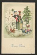 BUON NATALE 1960 BAMBINO SCOIATTOLO SLITTA QUADRIFOGLIO E SPUMANTE O CHAMPAGNE (32) - Santa Claus