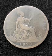 2 Pieces - Great Britain, 1890 Et 1860 (piece Trouée) - 1816-1901 : Frappes XIX° S.