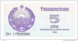 Uzbekistan - Pick 63 - 5 Sum 1992 - Unc - Uzbekistán